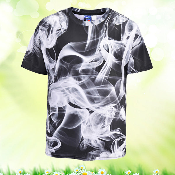 Cool T-shirt 3D Digital Print Smoke Short Sleeve Summer Tops Tees Tshirt Fashion Print Shirt