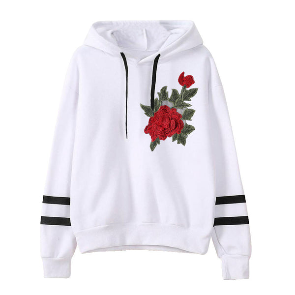Womens Embroidery Applique Long Sleeve Hoodie Sweatshirt Pullover Tops Blouse