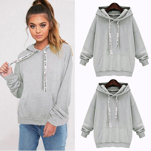 Women Ladies Letter Hoody Sweatshirt Hooded Pullover Hoodies Top Blouse