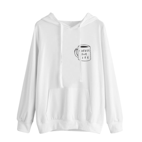 Hoodie Printed White Simple Sweatshirt Long Sleeve Pullover Tops Blouse