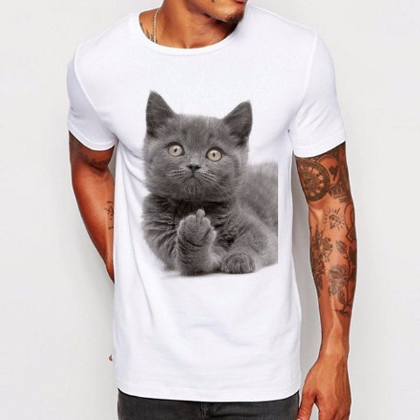 Men's Funny Middle Finger Design T Shirt Boy Cool Tops Hipster British Shorthair Cat Printed Summer T-shirt La772