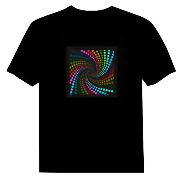 1pcs Sound Activated Led Cotton T Shirt Disco Music Night Luminous Clothes