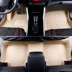 2013-2017 Mercedes GL ML GLS GLE Leather Custom Fit Floor Mats Beige w/ Beige Stitches