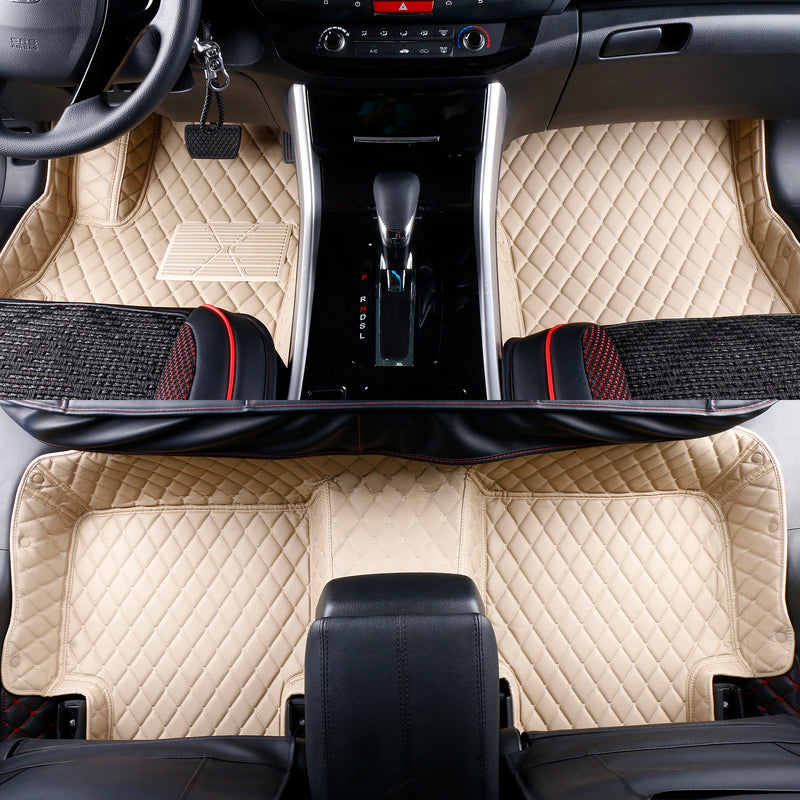 2013-2018 Infiniti JX35 / QX60 Nissan Pathfinder Leather 3 Rows Custom Fit Floor Mats Beige w/ Beige Stitches.