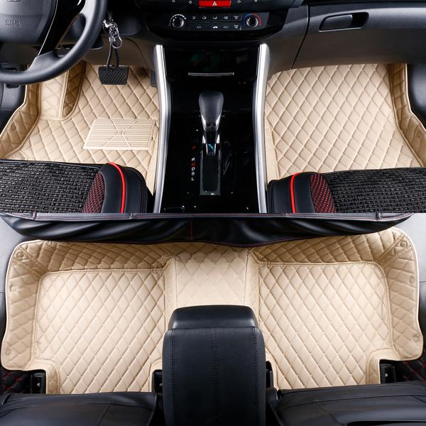 2015-2019 Nissan Murano Leather Custom Fit Floor Mats Beige w/ Beige Stitches.