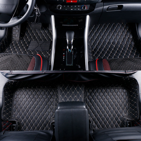 2013-2018 Infiniti JX35 / QX60 Nissan Pathfinder Leather 3 Rows Custom Fit Floor Mats Black w/ Beige Stitches