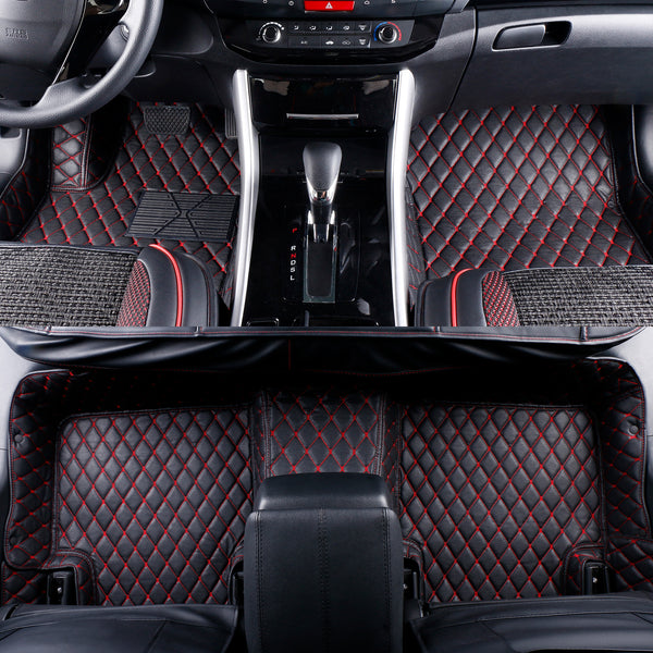 2007-2018 Jeep Wrangler 4 Door Leather Custom Fit Floor Mats Black w/ Red Stitches.