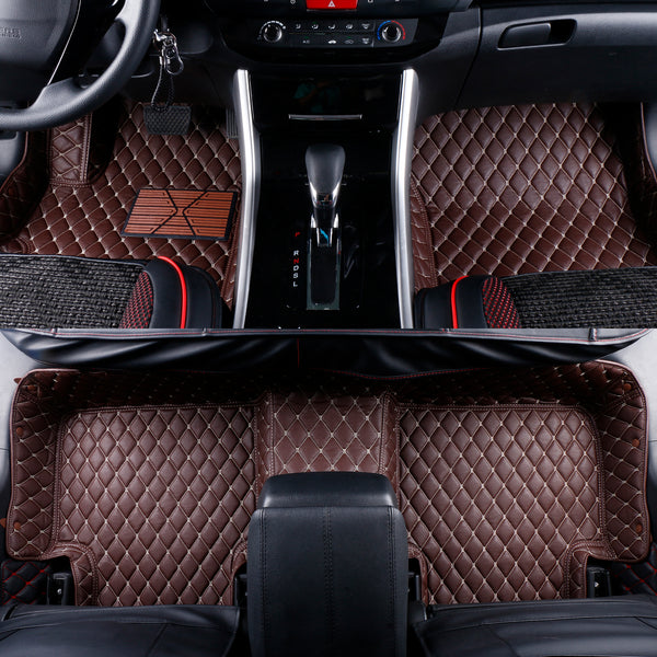 2007-2019 Toyota Tundra Crewmax Leather Custom Fit Floor Mats Coffee w/ Beige Stitches