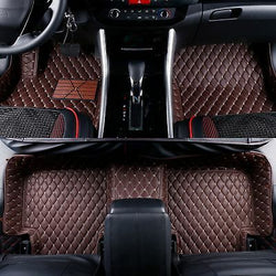 2006-2013 Lexus IS250 / IS350 Leather Custom Fit Floor Mats Coffee w/ Beige Stitches.