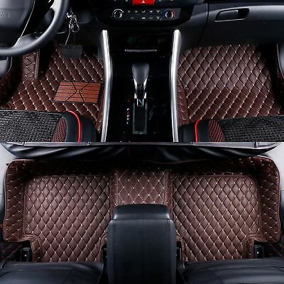 2008-2019 Toyota Sequoia 2 Rows Leather Custom Fit Floor Mats Coffee w/ Beige Stitches