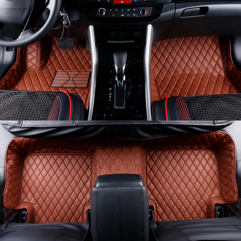 2007-2019 Toyota Tundra CrewMax Leather Custom Fit Floor Mats Brown w/ Brown Stitches