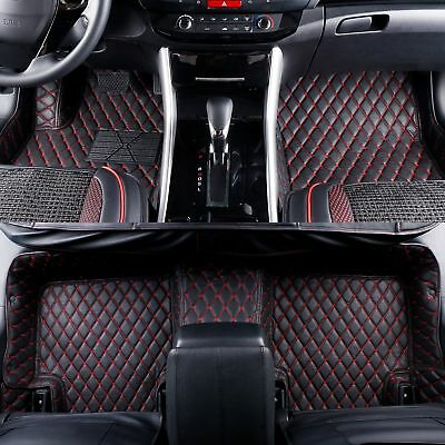 2008-2019 Toyota Sequoia 2 Rows Leather Custom Fit Floor Mats Black w/ Red Stitches
