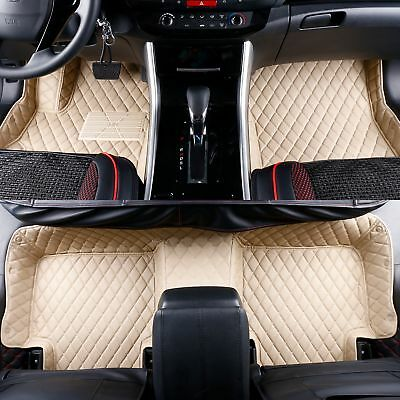 2008-2019 Toyota Sequoia 2 Rows Leather Custom Fit Floor Mats Beige w/ Beige Stitches