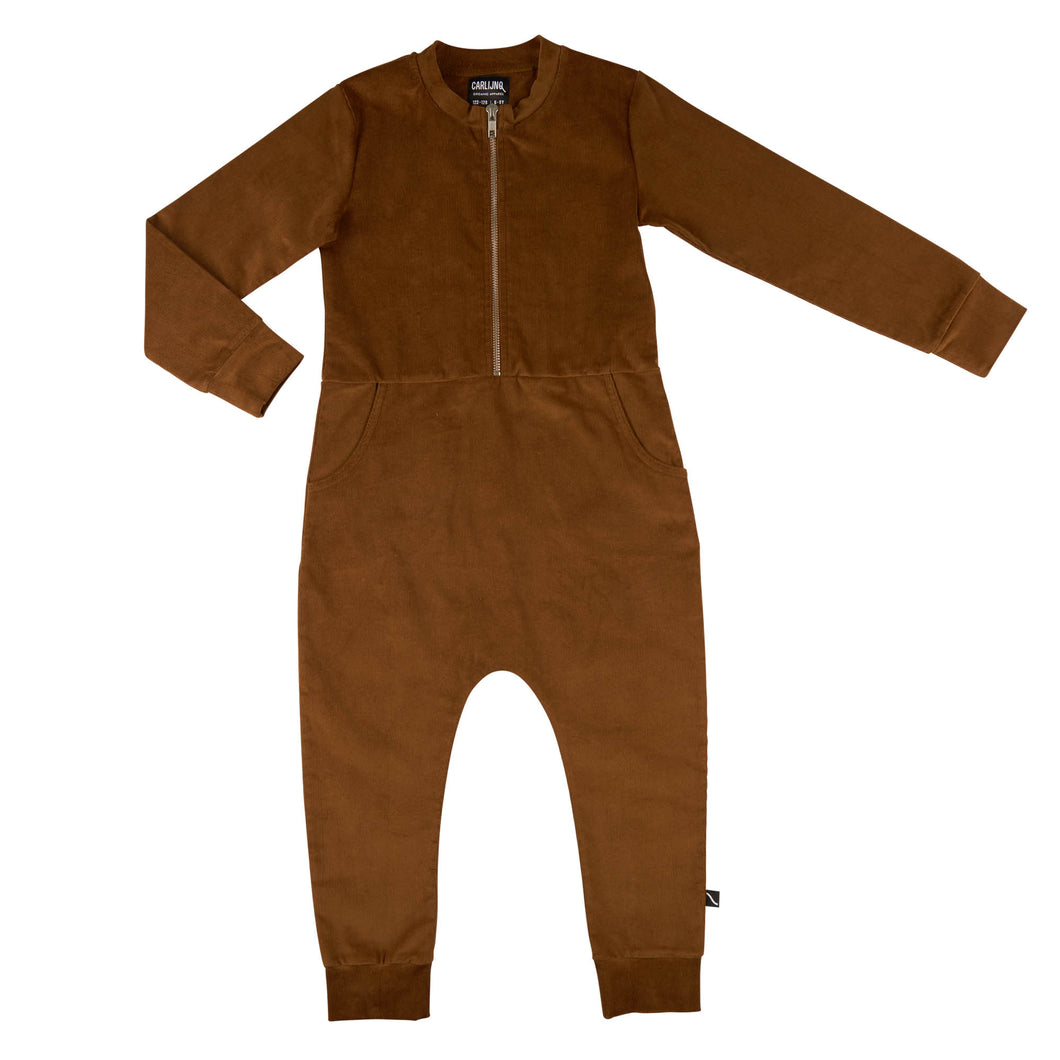 Brown Zipper Jumpsuit