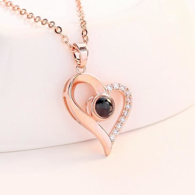 (4 Brand New Designs) I Love You Projection Necklace - Designer Heart Rose Gold