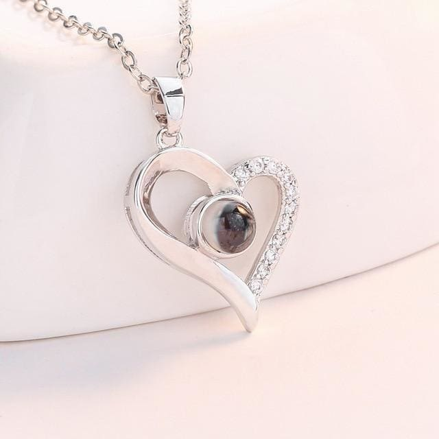 (4 Brand New Designs) I Love You Projection Necklace - Designer Heart Silver