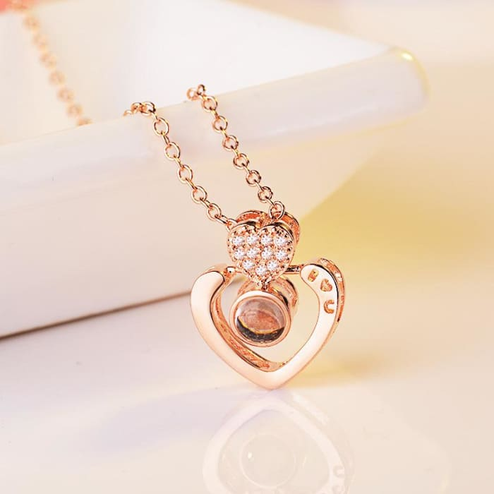 (4 Brand New Designs) I Love You Projection Necklace - Double Heart Rose Gold