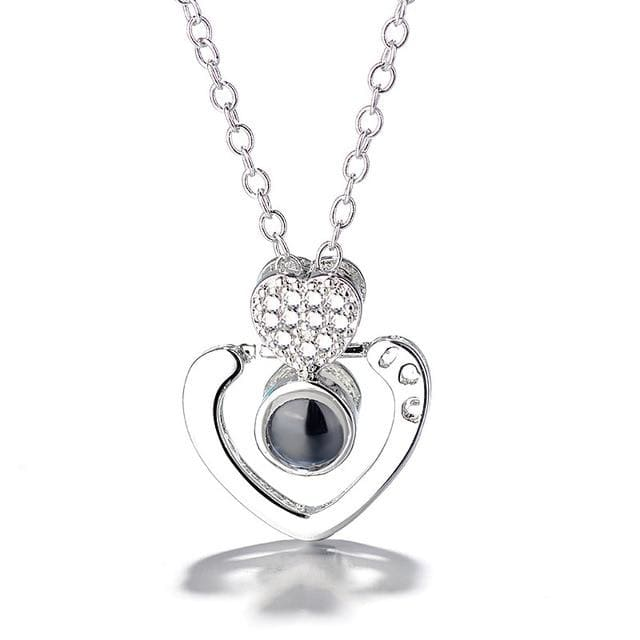 (4 Brand New Designs) I Love You Projection Necklace - Double Heart Silver