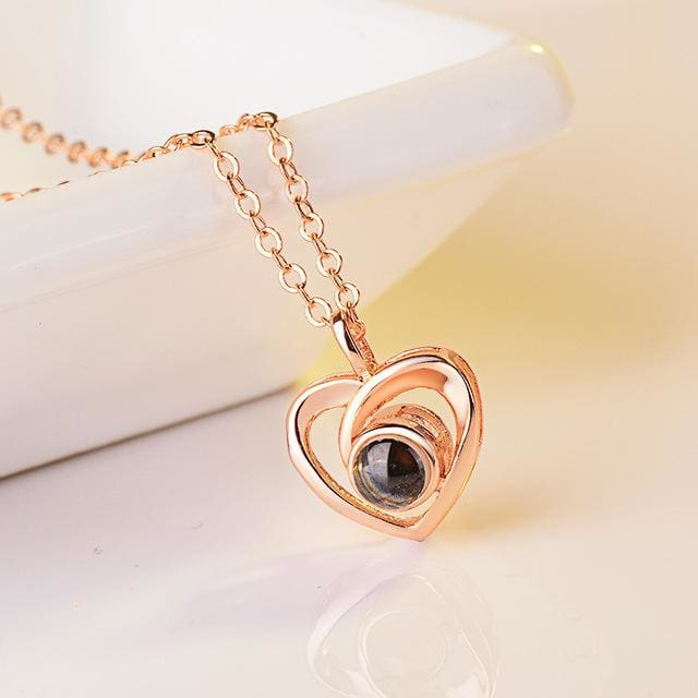 (4 Brand New Designs) I Love You Projection Necklace - Elegant Heart Rose Gold