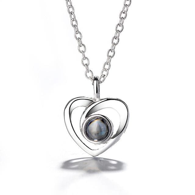(4 Brand New Designs) I Love You Projection Necklace - Elegant Heart Silver