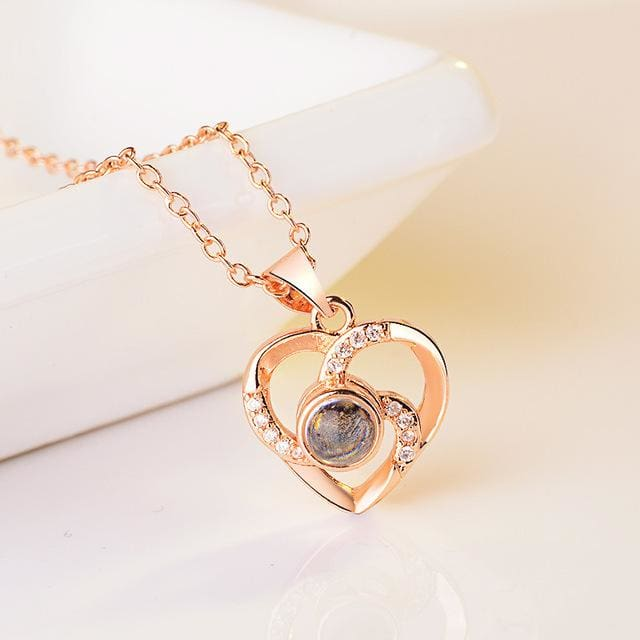 (4 Brand New Designs) I Love You Projection Necklace - Spiral Heart Rose Gold