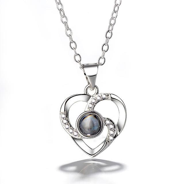 (4 Brand New Designs) I Love You Projection Necklace - Spiral Heart Silver