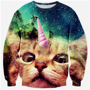 Ugly Sweater Cat Unicorn galaxy space