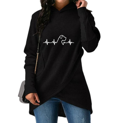 2018 New Fashion Heartbeat Dog Print Hoodies