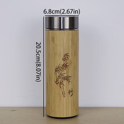 Vacuum Flasks 400ml Bamboo Thermos Stainless Steel