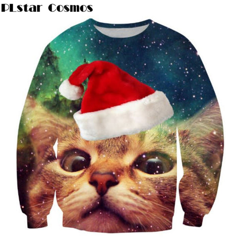 Ugly Sweater cat Christmas Cap space galaxy 3d