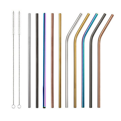 1/2/4pcs Stainless Steel colorful Straws