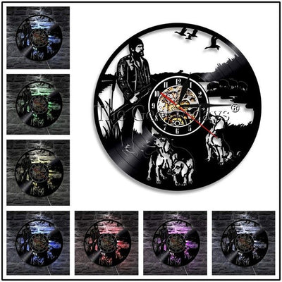 Vinyl Record Wall Mount Clock Hunting with LED