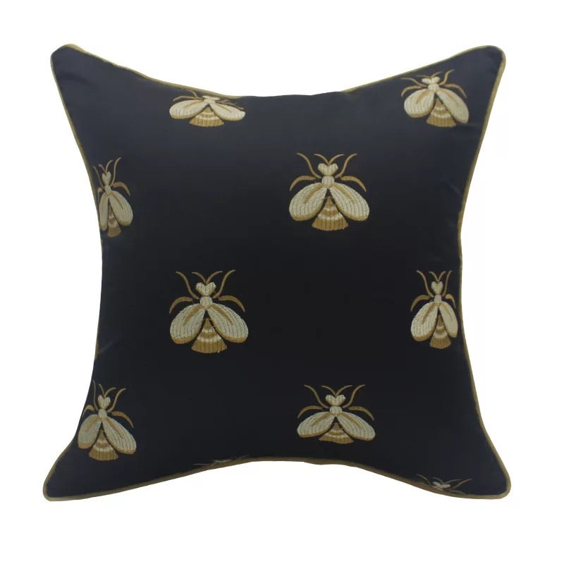 Embroidered bee cushion cover