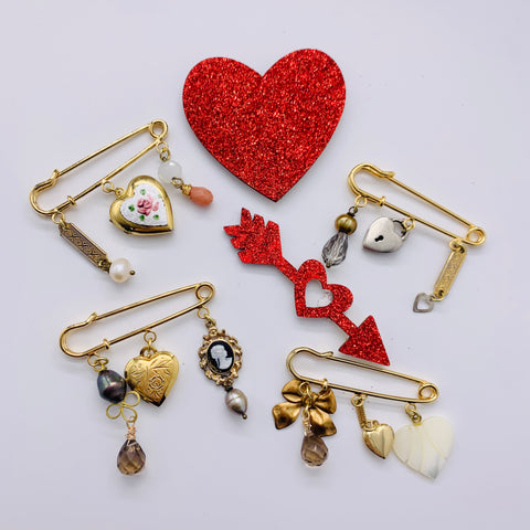 Heart Charm Safety Pin Brooches