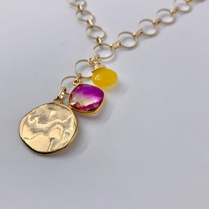 Sunset Gemstone Charm Necklace
