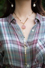 Load image into Gallery viewer, Pink Chalcedony Y Necklace