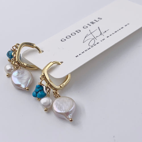 Pearl Charm Huggie Earrings