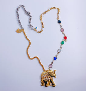 Good Luck Vintage Assemblage Elephant Necklace