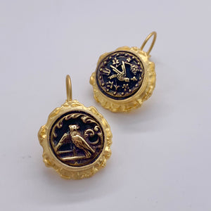Antique Bird Button Earrings
