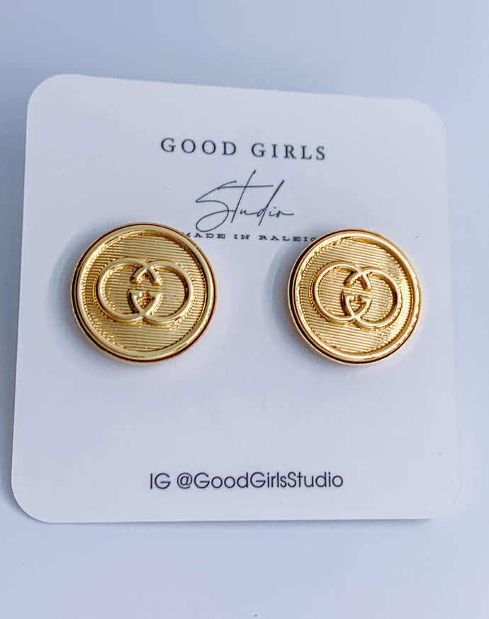 Stud Muffin GG Button Earrings