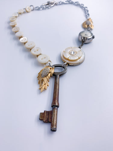 Mimi...Vintage Assemblage Key Necklace