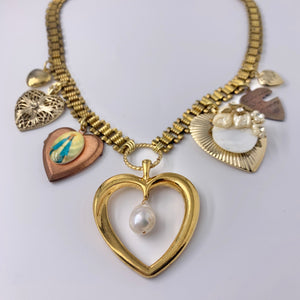 Kimmie Heart Charm Necklace One of a Kind Vintage Assemblage