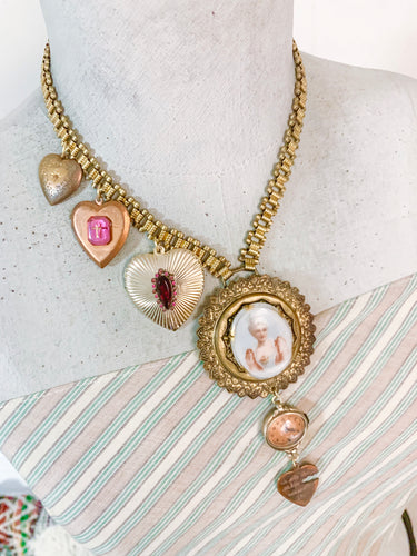 Hanna  Heart Charm Necklace One of a Kind Vintage Assemblage
