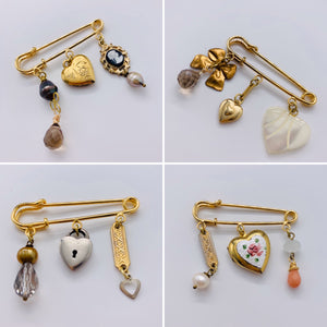 Heart Charm Brooches