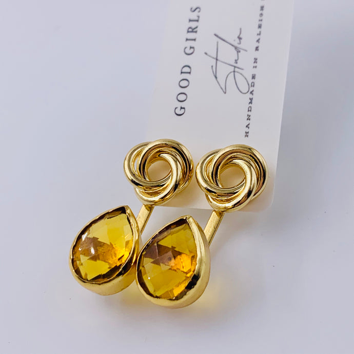 Citrine Lovers Knot Ear Jacket Earrings