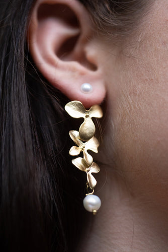 Flower Ear Jacket Earrings