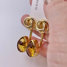Load image into Gallery viewer, Citrine Lovers Knot Ear Jacket Earrings