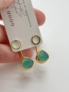 Aqua Chalcedony Gemstone Ear Jacket Earrings