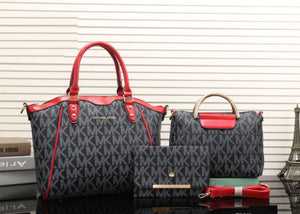 Double H Red MK Designer Handbag Set