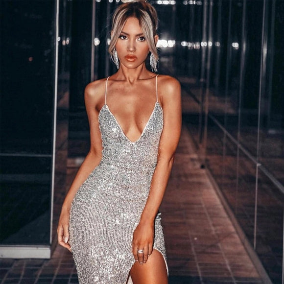 HH Sexy Spaghetti Strap Sequin Dress